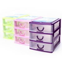 alps lighting - Desktop storage box Transparent Clear Plastic Box Stackable Foldable Storage Drawer Box Organization purple Light green pink