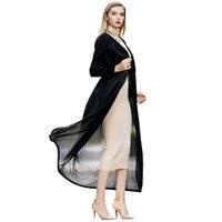 Wholesale Women Black Trench Coat Autumn New Europe Style Chiffon Patchwork Vintage Plus Size Long Overcoat casaco feminino