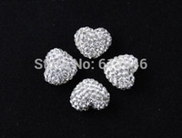 Wholesale x13mm White Rhinestone Polymer Clay Heart Beads Heart Bracelet Pave Bead RS039