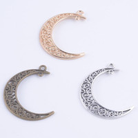 bronze charms - Vintage moon Charms Antique bronze Pendant Fit Bracelets Necklace DIY Metal Jewelry Making L