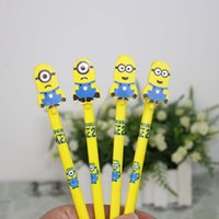 Wholesale Lovely Cartoon Minions Despicable Me Writing Pen cartoon Sign Gel Pen Needle Bling Roller Pen Creative Stationery Children s Toy Study Award