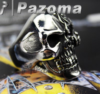 Wholesale Cool Fashion rings Face Horror Flame Ruby Red Eye Skull Stainless Steel Punk Ring US Size Biker Punk Tattoo Gothic Pazoma