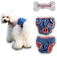 dog diapers - Female Pet Dog Puppy Sanitary Cute Demin Pant Short Panty Diaper Jeans Demin Design Washable Dog Pants