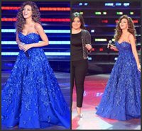 Wholesale 2015 Royal Blue Elegant Arabia Myriam Fares Dresses Backless Sweetheart Ball Gown Lace Applique Satin Runway Formal Evening Prom Gowns