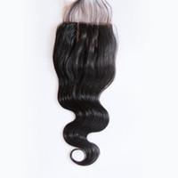 """Cheap 5A Malaysian Pêlos Onda Com Lace Encerramento 100% cabelo humano Com 4x4 Encerramento Três Parte Oriente Parte gratuito Parte 8 """"-22"""" Inch Top Encerramento"""