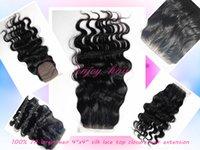 Wholesale 2015 brazilian virgin hair quot x4 quot silk lace closures body wave three part lace closure hair extension Swiss Lace Hair Piece