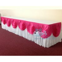 Wholesale Good Looking Ice Silk Table Skirt With Fuchsia Color Swags Good Looking Table Skirting For Wedding Used For Round Or Rectangular Tables