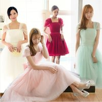 Cheap 2015 Fashion Cheap A Line Strap Capped Sleeve Lace Up Tea Length Tulle Bows Party Prom Dresses Bridesmaid Dresses Under 50
