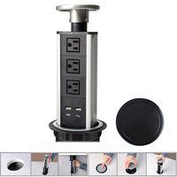 Wholesale US Plug Pop Up Socket Aluminium Alloy Shell Tensile Type Desktop Kitchen Socket With USB Port