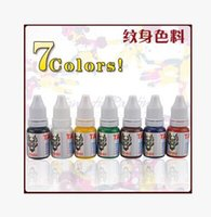 Cheap Wholesale-10ml pcs 7pcs color =1lot tattoo ink pigment set High quality Professional tattoo equipment -white black red yellow blue brown