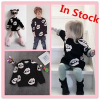 Wholesale children clothing for boys and girls cotton sweaters white black lips pullovers sweatshirt autumn winter kids clothes