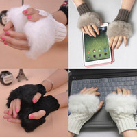 ladies gloves - Fashion Lady Knitted Faux Rabbit Fur Mittens Gloves Warm Women Girl Arm Length Fingerless Gloves Colors Choose ENO