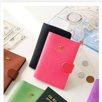 Wholesale Fashion New Passport Holder Documents Bag Sweet Bowknot Buckles Travel Passport Cover Card Case