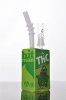 liquid glass - Green Colorful Hit Man Liquid Box Glass Bongs Recycler Oil Rigs Glass Water Pipes Smoking Pipe Hookahs Shisha New