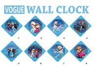 Wholesale 2015 New Frozen Diamond shaped wall clock Children living room clock Optional multi map can be customized free shpping