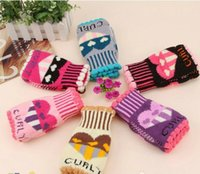 Wholesale 100Pcs Cartoon hot winter fashion wool gloves Knitting wool Embroidered gloves Ms gloves Love Mitts and a half finger gloves Warm gloves