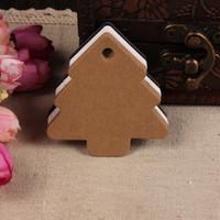 Wholesale 500pcs x5 cm handmade baking blank kraft Christmas tree shape hangtag kraft paper card
