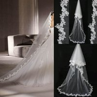Wholesale Ivory white bridal veils with lace flower edge chapel length long style two layers meters wedding dresses veil bridal gown accessories