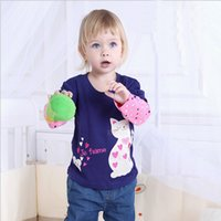 Cheap cute spring autumn girl long sleeve t shirt baby girls tops kids tees children Blouses TP150508
