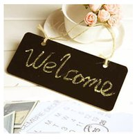 advertising rectangles - X Mini Wooden Shop Blackboard Chalkboard Rectangle Shape on Stick Stand Place Holder Wedding Party Decor Advertising Notice