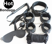 Wholesale 7 in BDSM Bondage Gear Kit Slave Restraints Black PU Ball Gag Rope Spanking Whip Sex Collar Hand Leg Cuffs Eye Mask Adult Toys