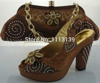 Wholesale Newest design COFFEE african italian shoes and matching bags for wedding party evening dresses with stones Euro size38 ME2201