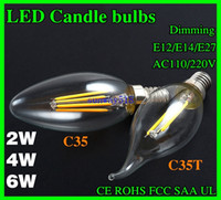 e12 bulb - Edison Filament Dimmable Led Candle Lamp W W W E14 E12 Led Bulbs Light High Bright LM W Warm White K Led Lamp