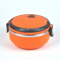 Cheap US Stock Sealing Compartment Stainless Steel Circle Design Convenient Bento Lunch Box for Kids and Adults 1 Layer Orange