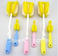 Wholesale Sponge bottle brush nipple brush set with degree swivel