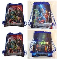Wholesale The Avengers Age of Ultron Children Drawstring Bags Cartoon The Avengers Superhero Backpack Kids School Bag Handbag cheap HX