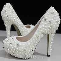 Heels aa silver - Fashion Luxurious Pearls Crystals Wedding Shoes High Heel Bridal Shoes Party Prom Women Shoes