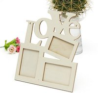 Wood ECO Friendly Home Decor DIY Photo Frame Hollow Love Wooden Family Photo Picture Frames Blank DIY Paint Picture Photo Frame Home Decor