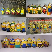 Wholesale new Keychain Favors Despicable Me Minions capsule pendant stereoscopic D glasses doll keychain Cartoon Christmas wedding gift hot sale