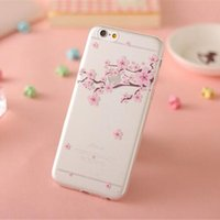 apple tree drawing - iphone s plus Sakura Fresh Beautiful Flower Colorful Trees Pattern Drawing Clear tup Covers for iPhone s plus s BEST