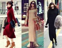 Wholesale 2014 Winter Hotsale Women Turtleneck Kniting Sweater Long Dress for Women Knitting Woolen Dress