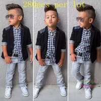 baby wedding outfits - New arrival outfits for baby boy Gentleman Casual Blazer Shirts Jeans Pants with belt Suit Wedding Party Baby Boys Clothes Kids Sets