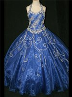 Cheap Navy Blue 2014 Fall Girl's Pageant Dresses with Halter Full Crystal Tulle Luxury Jewel Sweep Train Long Formal Teens Skirt Ball Gowns HOT