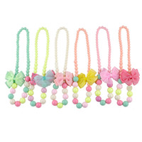 Wholesale Cool all match new simple Baby Child Girls jewelry necklace Bracelets set beads accessories summer style