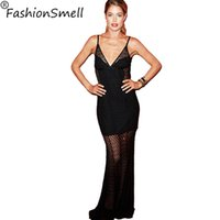 Wholesale New Brand Women Mermaid Maxi Party Dress Full Long Dresses Ball Maxiskit Black Sexy Hollow out Evening Dress Club Cele