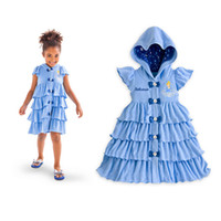 Wholesale 2015 Factory Outlet Foreign Trade Children girls Cinderella Hooded Pleated Dress Casual Occasion Clothing Low cost A070231