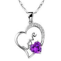 amethyst bridal jewelry - Fashion Jewelry Silver Pendant Necklace Love purple diamond pendant necklace Christmas Best Gifts Bridal Jewelry for Women