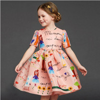 baby girl designer dresses - 2016 designer girl autumn winter style short sleeve cotton cartoon dress kids warm clothes baby children princess dresses