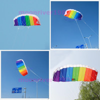 Wholesale Power Dual Line Stunt Parafoil Parachute Rainbow Sports Beach Kite For Beginner