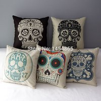 Cheap 43cm*43cm Home Decoration Decor Cotton Linen Skull Pillowcase Skull Cushion Cover Pillow Case Pillowcase Bed Cars Covers