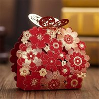 candy packaging supplies - Romantic Candy Bag Decoration Red Butterfly Flower Sweet Packaging Wedding Event Party Supplies Gifts And Favors Box For Guest