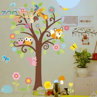 Wholesale wise owls on colorful tree wall stickers for kids rooms ZooYoo1008 decorative adesivo de parede removable pvc wall decal