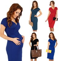 Wholesale Fashion Women Black Dress Elegant Office Stretchy Vestidos de Festa Wrap Front Tunic V Neck Short Sleeve Maternity Clothing G0878