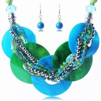 asian jewelry - Asian Style Women Shell Necklace Earring Set Lady Jewelry Necklace Eardrop For Party TL9361