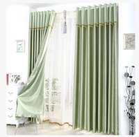 Wholesale Satin Blackout Curtain Thick Shade Sunshade Blackout Cloth Curtains Living Room Bedroom Great Quality Curtains with Lace Head Drape