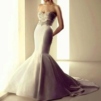 Cheap Strapless Mermaid Strapless Sweetheart Collar Lace Wedding Dresses 2015 The Latest Fashion Discount Sexy Long Tight Package Hip Bridal Gowns